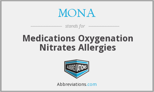 MONA - Medications Oxygenation Nitrates Allergies