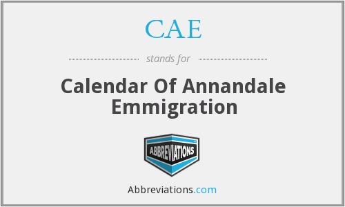 CAE - Calendar Of Annandale Emmigration