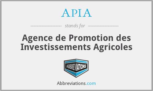 APIA - Agence de Promotion des Investissements Agricoles
