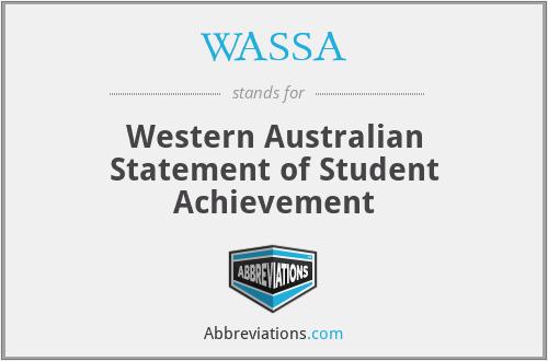 WASSA - Western Australian Statement of Student Achievement