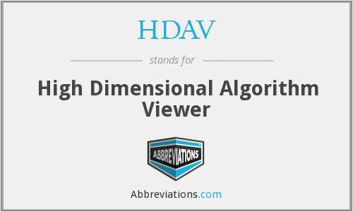 HDAV - High Dimensional Algorithm Viewer