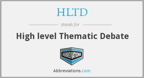 HLTD - High level Thematic Debate