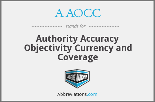 AAOCC - Authority Accuracy Objectivity Currency and Coverage