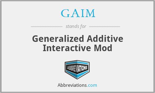 GAIM - Generalized Additive Interactive Mod