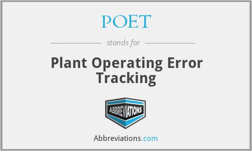 POET - Plant Operating Error Tracking