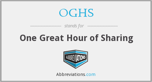 OGHS - One Great Hour of Sharing