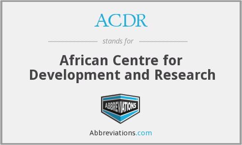 ACDR - African Centre for Development and Research