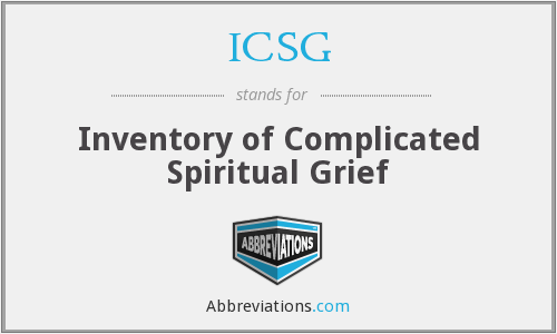 ICSG - Inventory of Complicated Spiritual Grief