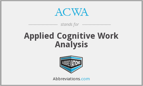 ACWA - Applied Cognitive Work Analysis