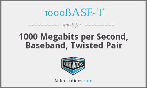 1000BASE-T - 1000 Megabits per Second, Baseband, Twisted Pair