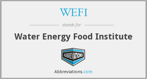 WEFI - Water Energy Food Institute