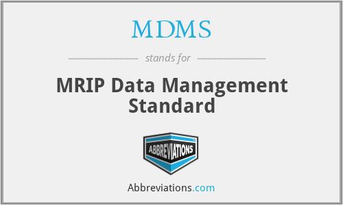 MDMS - MRIP Data Management Standard