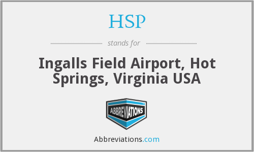 HSP - Ingalls Field Airport, Hot Springs, Virginia USA