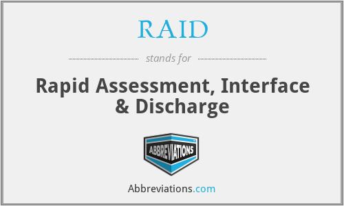 RAID - Rapid Assessment, Interface & Discharge