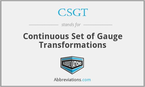 CSGT - Continuous Set of Gauge Transformations