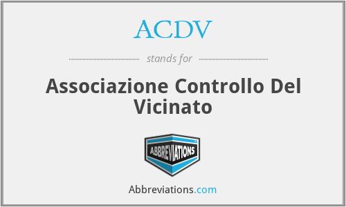 ACDV - Associazione Controllo Del Vicinato