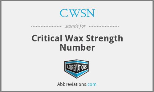 CWSN - Critical Wax Strength Number