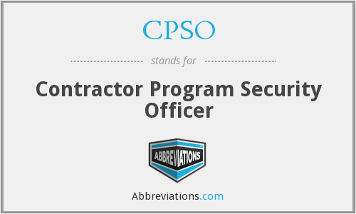 CPSO - Contractor Program Security Officer