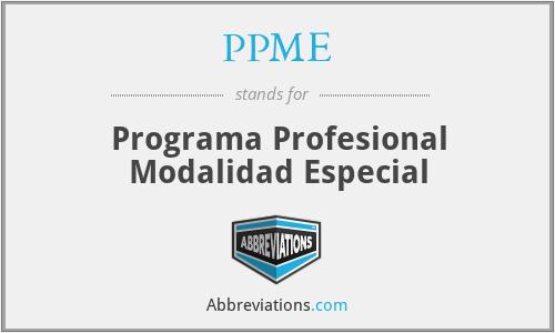 PPME - Programa Profesional Modalidad Especial
