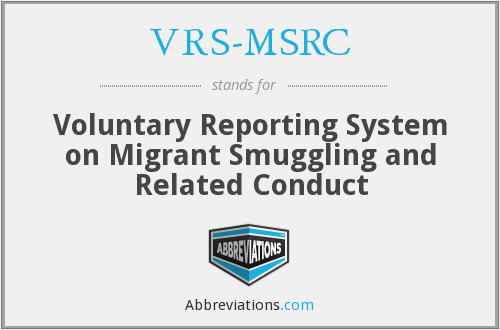 VRS-MSRC - Voluntary Reporting System on Migrant Smuggling and Related Conduct