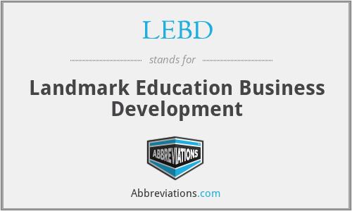 LEBD - Landmark Education Business Development