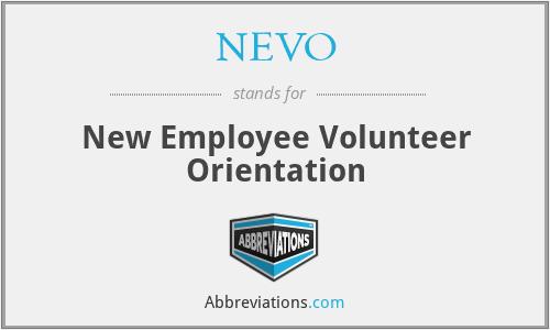 NEVO - New Employee Volunteer Orientation