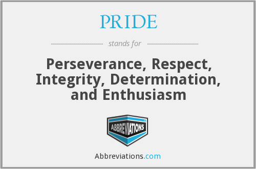PRIDE - Perseverance, Respect, Integrity, Determination, and Enthusiasm