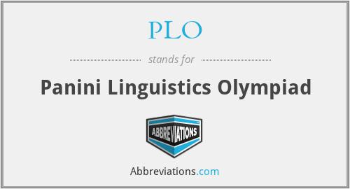PLO - Panini Linguistics Olympiad