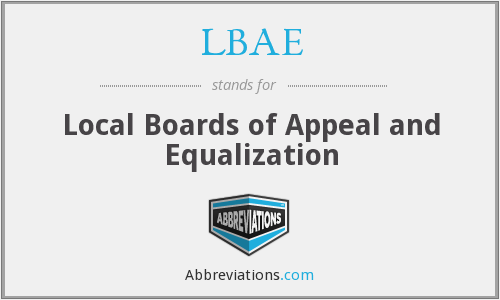 LBAE - Local Boards of Appeal and Equalization