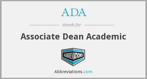 ADA - Associate Dean Academic