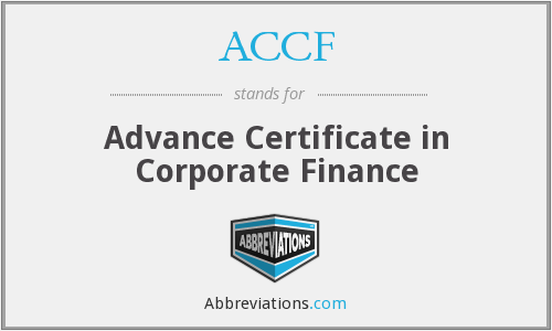 ACCF - Advance Certificate in Corporate Finance