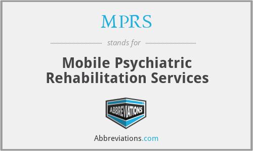 MPRS - Mobile Psychiatric Rehabilitation Services