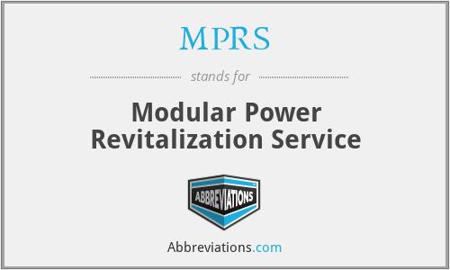 MPRS - Modular Power Revitalization Service