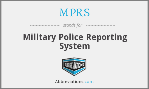 MPRS - Military Police Reporting System