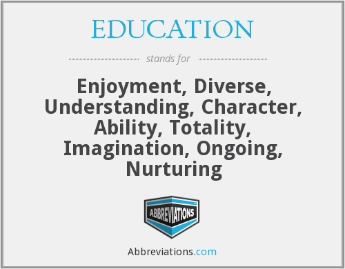 EDUCATION - Enjoyment, Diverse, Understanding, Character, Ability, Totality, Imagination, Ongoing, Nurturing