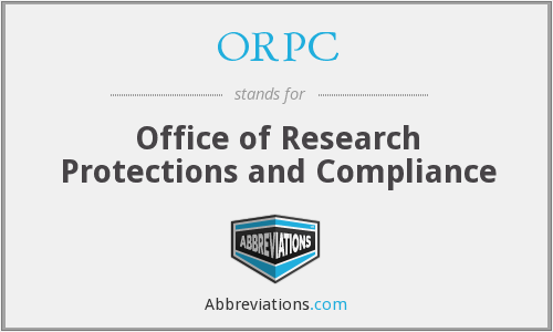 ORPC - Office of Research Protections and Compliance