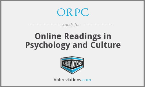 ORPC - Online Readings in Psychology and Culture