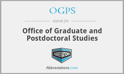 OGPS - Office of Graduate and Postdoctoral Studies