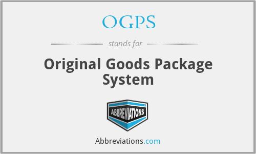 OGPS - Original Goods Package System