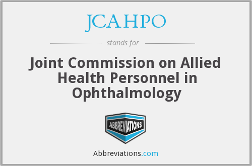 JCAHPO - Joint Commission on Allied Health Personnel in Ophthalmology
