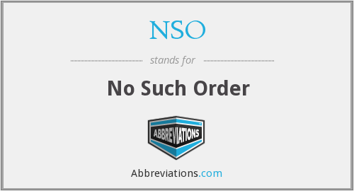 NSO - No Such Order
