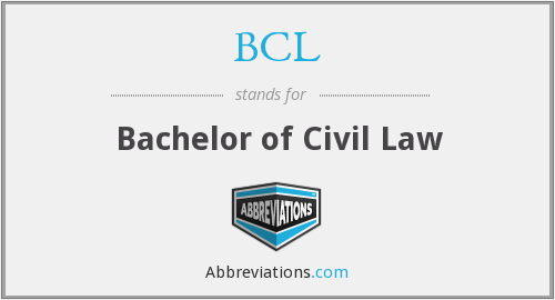 BCL - Bachelor of Civil Law