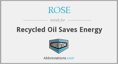 ROSE - Recycled Oil Saves Energy