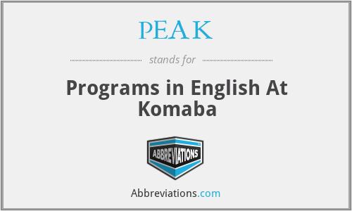 PEAK - Programs in English At Komaba