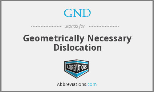 GND - Geometrically Necessary Dislocation