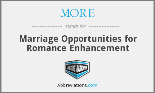 MORE - Marriage Opportunities for Romance Enhancement