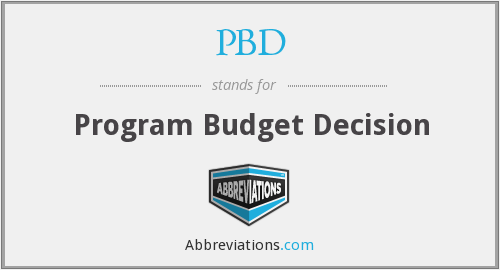 PBD - Program Budget Decision