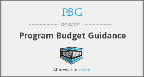 PBG - Program Budget Guidance