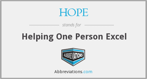 HOPE - Helping One Person Excel