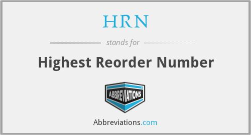 HRN - Highest Reorder Number